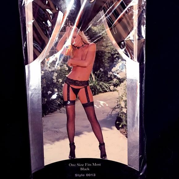c858023e4 Dreamgirl Other - NWT Black sheer garter belt pantyhose